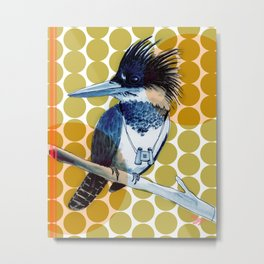 Belted Kingfisher, Graphic Metal Print