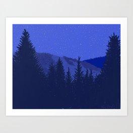 Conifers and Night Sky Art Print