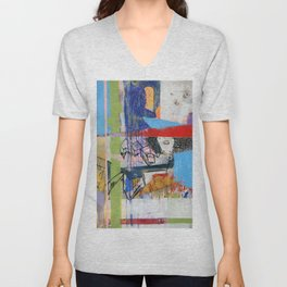 Abstract Mixed Media Compositon V.Threeve Unisex V-Neck