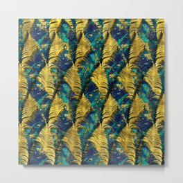 Abstract Gold and Marble Feather pattern Metal Print