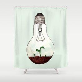 lightbulb terrarium Shower Curtain