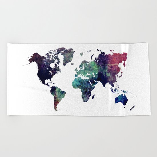 Map of the World After Ice Age Beach Towel