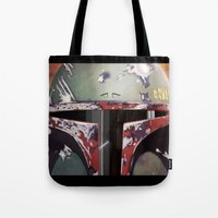 boba Tote Bags featuring Boba Fett by Mel Hampson