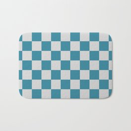 Teal and Grey Check Bath Mat