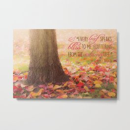 Autumn Leaves Poem Metal Print