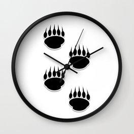 Black Bear Paw Prints Wall Clock