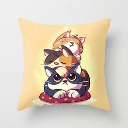 Cat Stack Doodle Throw Pillow