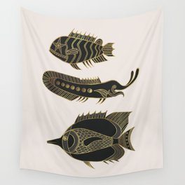 Fantastical Fish 1 - Black and Gold Wall Tapestry