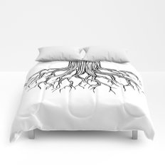 Tree Root Drawing (black on white) Comforters