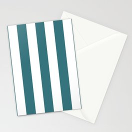 Ming blue - solid color - white vertical lines pattern Stationery Cards