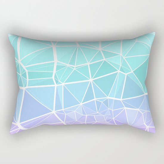 Cyan, Turquoise, and Purple Triangles Rectangular Pillow