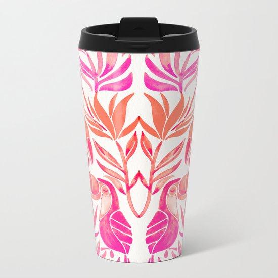 Tropical Toucans – Pink Ombré Palette Metal Travel Mug