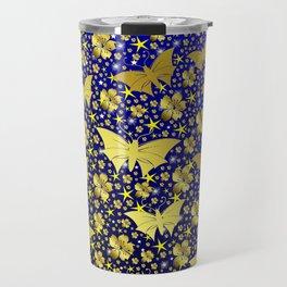 blue,gold,flowers, stars, butterfly, pattern, bright, shiny, elegant, color Travel Mug