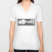 8 bit V-neck T-shirts featuring 8 Bit Sky by Corinne Elyse