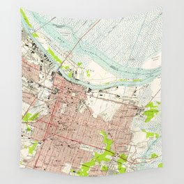Vintage Map of Savannah Georgia (1955) Wall Tapestry