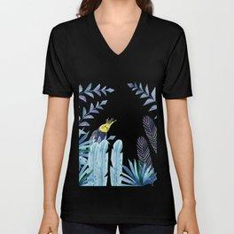 Cockatiel with tropical foliage Unisex V-Neck