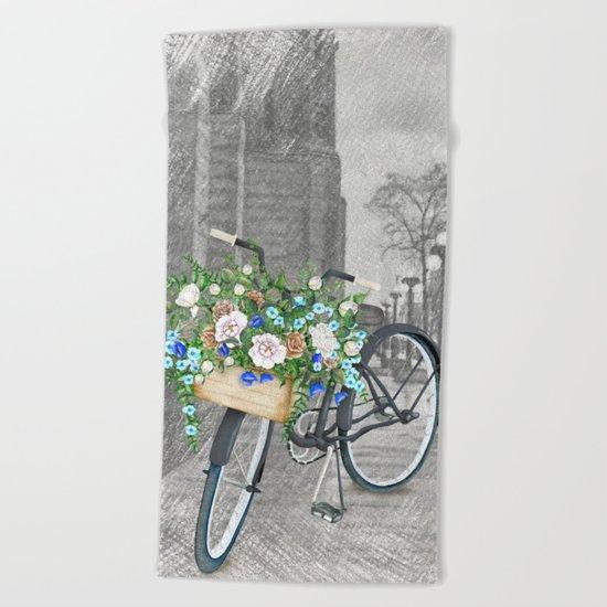Black bike & street sketch Beach Towel