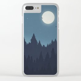 Tree Line - Blue Clear iPhone Case