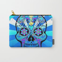 Psychedelic PopArt Skull, blue Carry-All Pouch