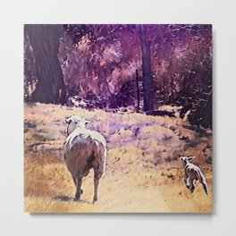 Lamb Frolic with Mama Ewe by CheyAnne Sexton Metal Print
