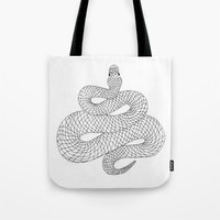 snake Tote Bags featuring Snake by Syrupea