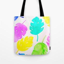 Colorful Monstera Watercolor Leaves Tote Bag