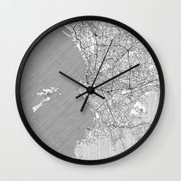 Marseille Map Line Wall Clock