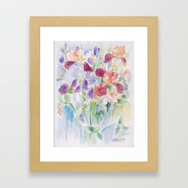 Irises Purple flowers Still life Floral watercolor painting Framed Art Print