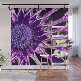 African Daisy in Manipulated Purple Wall Mural