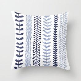 navy blue vines Throw Pillow