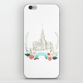 LDS Payson Temple Watercolor painting with flower wreath  iPhone Skin