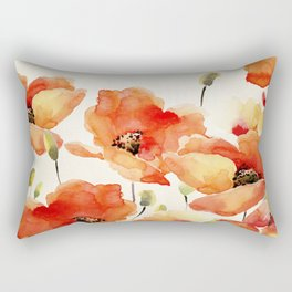 Poppy Flower Meadow- Floral Summer lllustration Rectangular Pillow