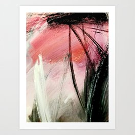 Train of thought: a vibrant abstract mixed media piece Art Print