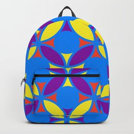 Geometric Floral Circles Vibrant Color Challenge In Bold Red Yellow Purple & Blue Backpack