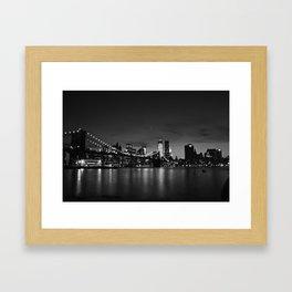 Brooklyn Bridge and the Manhattan Skyline at Dusk Framed Art Print