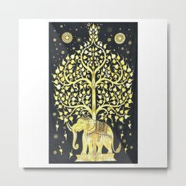 Indian Elephant Tapestry Metal Print