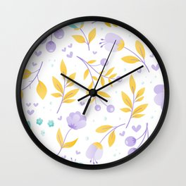 teal and purple flowers Wall Clock