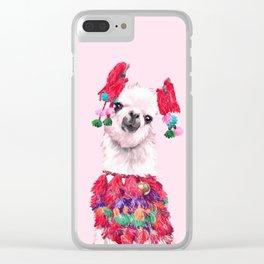 Llama in Colourful Costume Clear iPhone Case