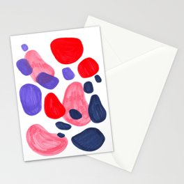 Colorful Bright Mid Century Modern Abstract Bubbles Red Purple Navy Blue Fun Pattern Stationery Cards