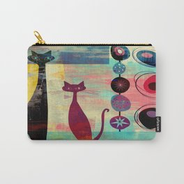 Mid-Century Modern 2 Cats - Graffiti Style Carry-All Pouch
