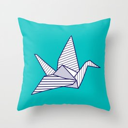 Swan, navy lines on turquoise Throw Pillow