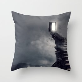 Fascinating Fantasy Stairway And Door To Nowhere Gloomy Clouds Ultra HD Throw Pillow
