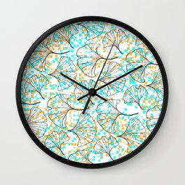 grid in yellow and blue and petals Wall Clock