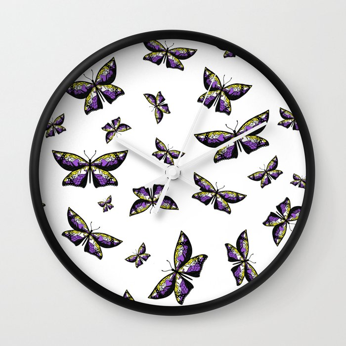 Fly With Pride: Nonbinary Flag Butterfly Wall Clock