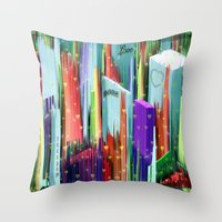 Throw Pillows featuring Love the City by Nico Bielow by nicobielow