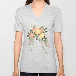 Watercolor rose flowers bouqet Unisex V-Neck