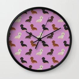 Doxie dachshund dachsie pattern print dog lover dog breed custom dog art by pet friendly Wall Clock