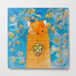 cat with hop Metal Print
