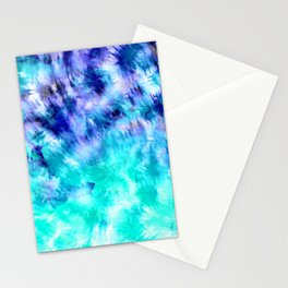 modern boho blue turquoise watercolor mermaid tie dye pattern Stationery Cards