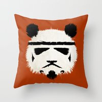 panda Throw Pillows featuring Panda Trooper by Danny Haas